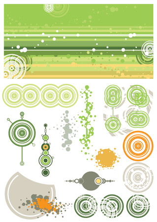 green background and design elements, vector Vector