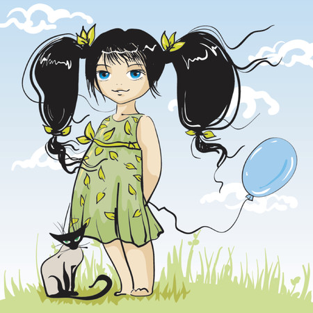 poppet: small drawing girlie with kitten Illustration