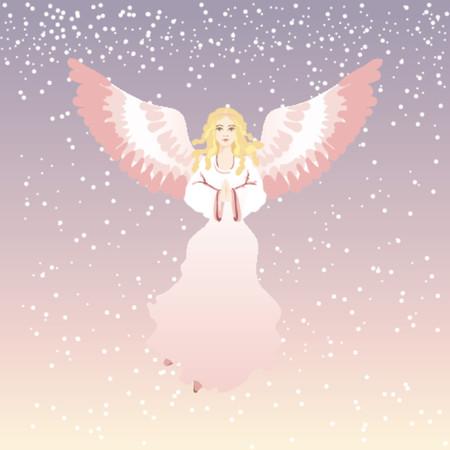 sentimental: xmas angel, vector Illustration