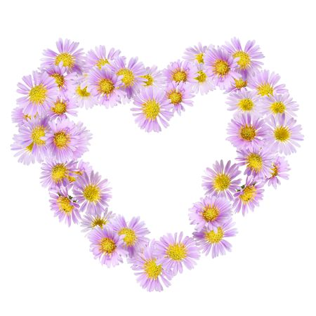 flowers heart frame, isolated on white background Stock Photo