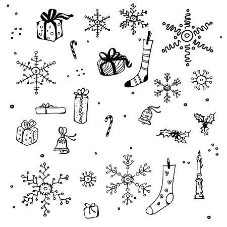 New Year and Christmas design elements, black and white Vector