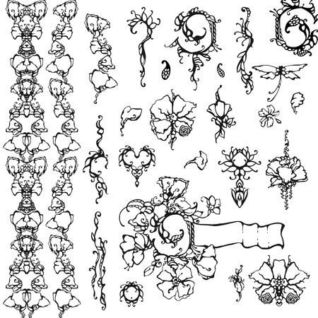 Floral ornament, black and white Vector