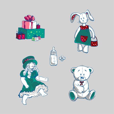 ourson: Jouets et cadeaux, illustration vectorielle