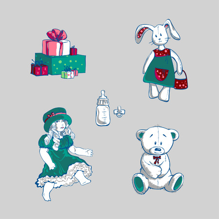 Toys and Gifts, vector illustration   Vector