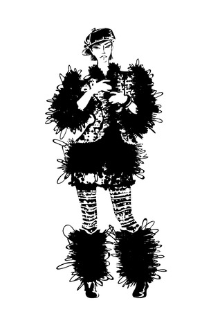 Posing beautiful young women in fur coat, bw Vector