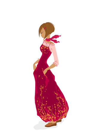 sedate: Beautiful young girl in red, vector illustration