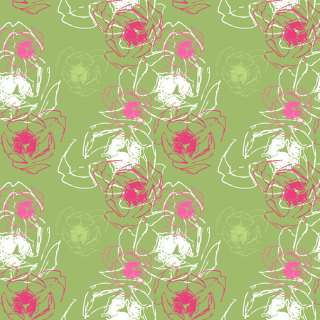 Green seamless texture with tulips  Illustration