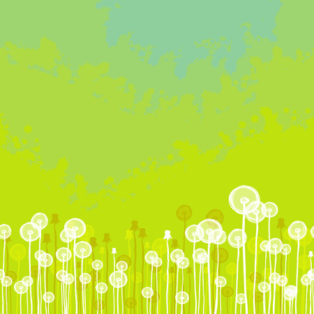 Green seamless texture with dandelion Vector