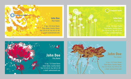 Four artistic background for business cards Vector