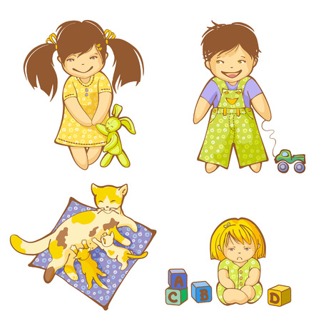 Small boy, girls and kittens Vector