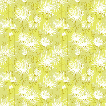 White flowers vector seamless pattern Illustration
