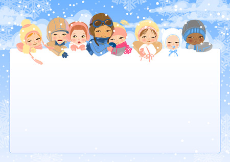 The eight children of different age and nationalities look out from white sheet. Winter. Snow and clouds. The illustration can be used as frame or site header. Vector