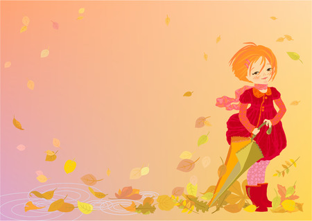 Nice smiling girl with umbrella on abstract autumn background Vector