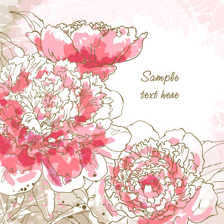 blooming: Abstract romantic background with three peony  Illustration