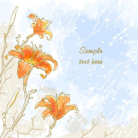 esquineros de flores: Fondo rom�ntico abstracto con tres lirio de cielo azul