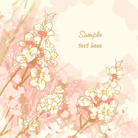 Abstract romantic  background with cherry blossom