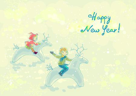 Happy boy and girl astride snowdeer Vector