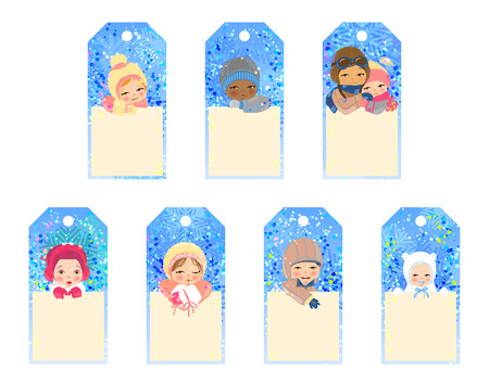 Collection of five gift tags with smillig children on winter background Vector