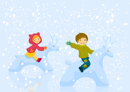 Happy boy and girl astride snowdeer playing outdoor in winter day Vector