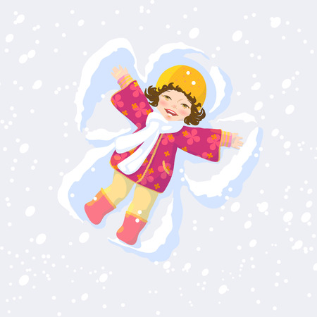 Pretty girl make wings on snow Stock Vector - 8654265