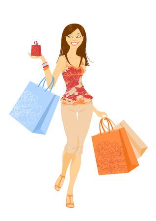leaving: Smilling blij winkel meisje met papieren-zakken in zijn hand Stock Illustratie