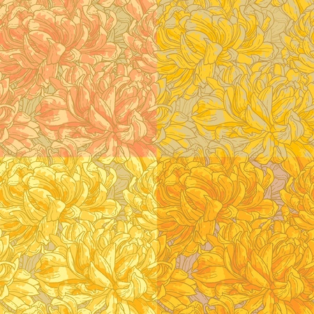 Seamless floral pattern with hand-drawn chrysanthemum flower in four different coloring