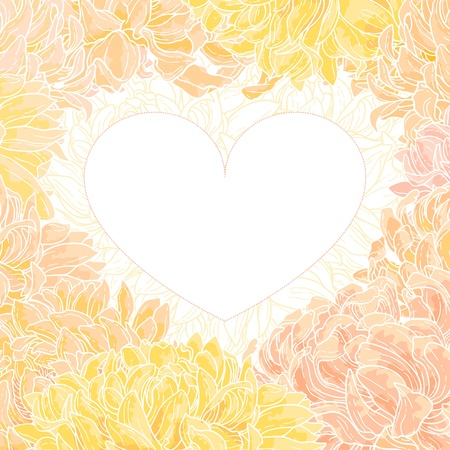 Romantic vector heart-shape frame with chrysanthemum Vector