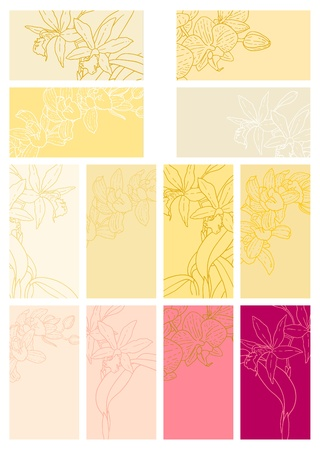 outline wedding: Collection of one colored, simple floral backgrounds with orchids for gift tag, business card etc. Illustration