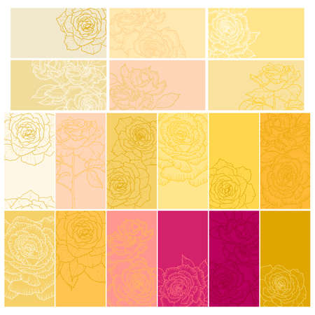 Collection of one colored, simple floral backgrounds with roses for gift tag, business card etc. Vector