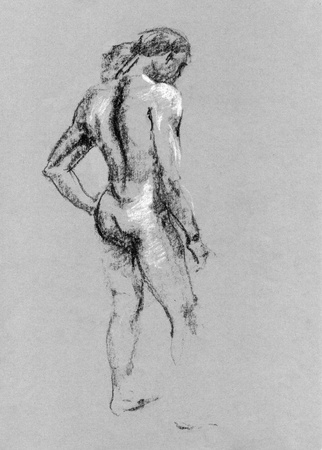 naked male: Sketch in charcoal and chalk of nude man body on toned paper Stock Photo