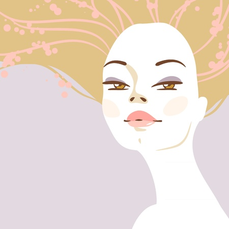 portrait of beautiful blonde woman with long hair  Portrait en face Stock Vector - 21751520