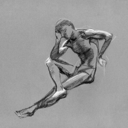 desnudo masculino: Sketch en carboncillo y tiza del cuerpo de un hombre desnudo en el papel entonado