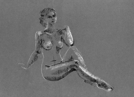 adult nude: Sketch in charcoal and chalk of nude woman body on toned paper Stock Photo