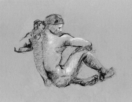 Sketch in charcoal and chalk of nude man body on toned paper photo