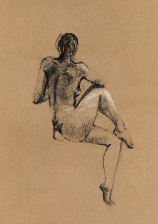 nude man: Sketch in charcoal and chalk of nude man body on toned paper Stock Photo
