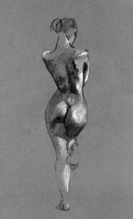 Sketch in charcoal and chalk of nude woman body on toned paper Stock Photo