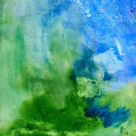 scanned: Green and blue abstract watercolor background, scanned in high resolution Stock Photo