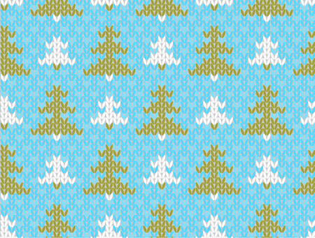 spruce thread: Vector seamless background with trees  Imitation jacquard knitting Illustration