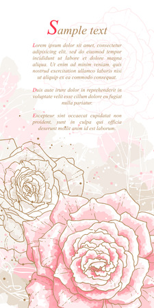 Romantic background with pink roses  Watercolor style  Can be used as background for wedding invitation cards  Vector
