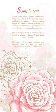 sfondo romantico: Sfondo romantico con rose rosa in stile acquerello Pu� essere utilizzato come sfondo per biglietti d'invito di nozze