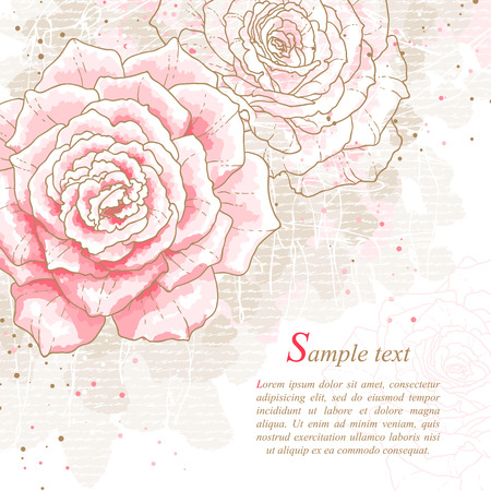 Romantic background with pink roses  Watercolor style  Can be used as background for wedding invitation cards