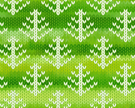 jacquard: Green seamless background with trees. Imitation jacquard knitting Illustration