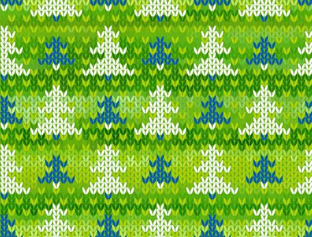 jacquard: Green seamless background with trees. Imitation jacquard knitting Illustration