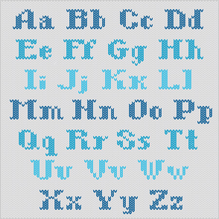 Knitted alphabet, blue bold serif letters on gray background Vector