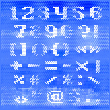 Knitted vector alphabet, white bold serif letters on blue melange background. Vector