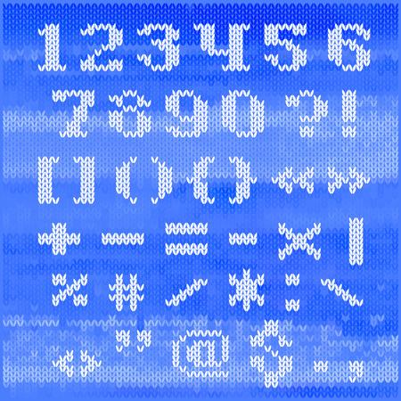 serif: Knitted vector alphabet, white bold serif letters on blue melange background.