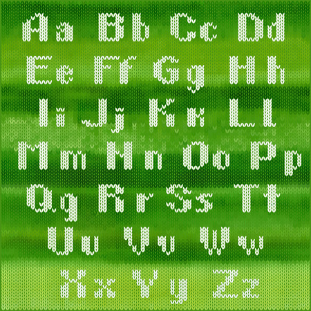 jacquard: Knitted vector alphabet, white bold sans serifletters on green melange background.