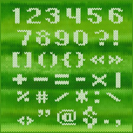 sans serif: Knitted vector alphabet, white bold sans serif letters on green melange background.