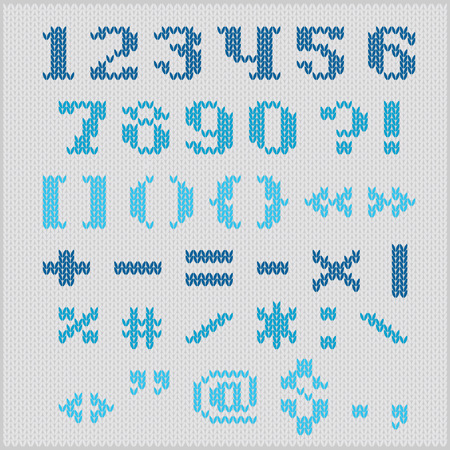 Knitted vector alphabet, blue bold serif letters on gray background. Vector