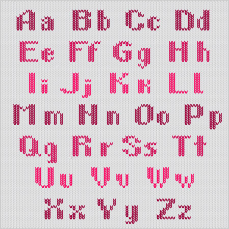 Knitted vector alphabet, red bold sans serif letters  on gray background. Part 1 - letters. Vector